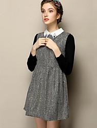 Trapèze Robe Femme Sortie simple,Mosaïque Col Rond Claudine Mini Sans Manches Gris Polyester Automne Taille Normale Non Elastique Moyen