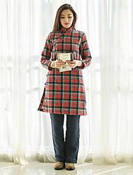 Trapèze Robe Femme Décontracté / Quotidien Vintage,Tartan Mao Mi-long Manches Longues Rouge / Vert Coton Automne / Hiver Taille Normale