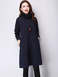 Women's Casual Vintage Loose DressSolid Turtleneck Long Sleeve Blue / Red / Black / Green Cotton / Linen Fall / Winter