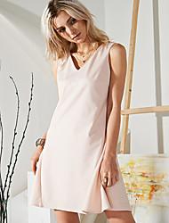Gaine Robe Femme Sortie simple,Couleur Pleine Coeur Au dessus du genou Sans Manches Rose / Noir Nylon / Spandex Eté Taille Normale