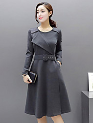 Women's Casual/Daily Street chic A Line DressSolid Round Neck Knee-length Long Sleeve  Spring / Fall Mid Rise
