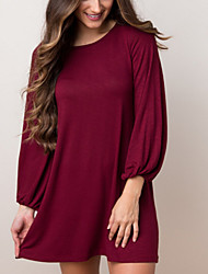 Damen Solide Retro Lässig/Alltäglich T-shirt,Rundhalsausschnitt Alle Saisons Langarm Blau / Rot Polyester Mittel