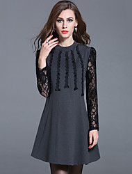 Women's Plus Size /Casual /Party /Street chic A Line /Sheath Dress Lace Beaded Embroidered Stand Rayon/Nylon Fall/Winter