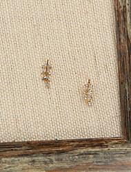 Fashion Women Rhinestone Set Leaf Earrings