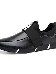 Men's Loafers & Slip-Ons Spring / Fall Comfort Cowhide Casual Flat Heel Slip-on Black / Red Walking