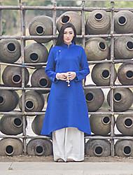 Trapèze Robe Femme Décontracté / Quotidien Vintage,Couleur Pleine Mao Mi-long Manches Longues Bleu Autres Automne / Hiver Taille Normale