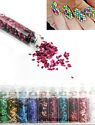 12 Colors Rhombus Glitter Shape Sequins Powder Nail Art Decorations