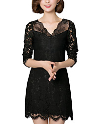 Spring Fall Going out Casual Plus Size Women's Dresses Solid Color V Neck Mini Long Sleeve Lace Dress