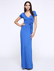 Trapèze / Swing Robe Soirée / Cocktail Sexy,Couleur Pleine V Profond Maxi Manches Courtes Bleu / Noir / Gris Coton / Polyester / Spandex