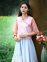 Our Story Going out Vintage Summer T-shirtEmbroidered Sweetheart Short Sleeve Pink Nylon Medium