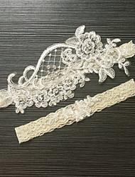 Liga Satén Elástico Encaje Flor Perla Artificial Marfil