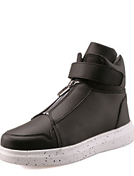 Men's Flats Spring / Fall Round Toe PU Casual Flat Heel Others / Hook & Loop / Lace-up Black / Red / White Others