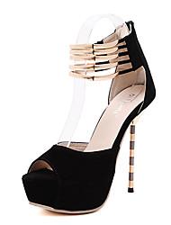 Da donna Sandali Felpato Estate Casual A stiletto Nero 12 cm e oltre