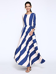 Women's Print / Striped Blue Dress , Print Round Neck ½ Length Sleeve