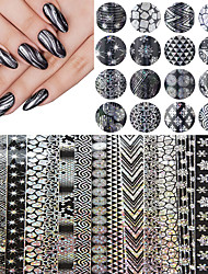 16pcs 20cm*4cm Halloween Style Nail Art Snowflake Nail Transfer Foil Sticker Decal Adhesive Nail Tips Decorations