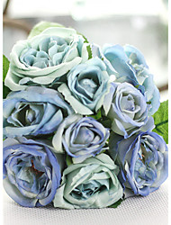 "1 Bunch 1 Ramo Seda Rosas Flor de Mesa Flores artificiais Total Length:9.9"";Diameter:6.7"""