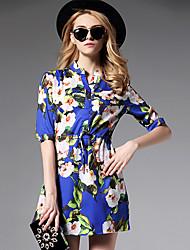 Chemise Robe Femme Sortie / Grandes Tailles Bohème,Fleur Mao Au dessus du genou ½ Manches Bleu Polyester Automne Taille Normale