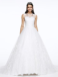 LAN TING BRIDE A-line Wedding Dress See-Through Court Train Jewel Lace Tulle with Appliques Button Lace