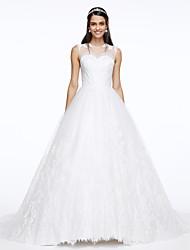 Linha A Decorado com Bijuteria Cauda Corte Renda Tule Vestido de casamento com Apliques Renda Botão de LAN TING BRIDE®