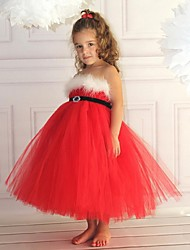 Crystal Red Sleeveless Flower Girl Dresses Pageant Dresses Halloween dress Vestidos
