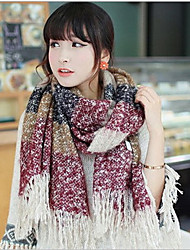 Thickening Autumn And Winter Mixed Colors Loop Yarn Wool Fringed Scarves Long Thick Shawl