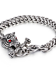 316L Stainless Steel Link Chain Red Evil Eyes Animal Tiger Bracelet 2016 Kalen New Personalised Gothic Men's Gift