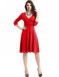 Lady Fashion High Waist Skirt Umbrella  Solid Color Long-Sleeved Dress  Sexy V-neck