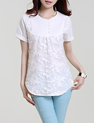 Women's Casual/Daily Simple Summer Blouse,Solid Round Neck Short Sleeve White Linen Thin