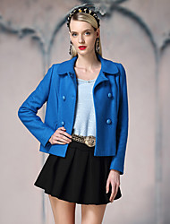 I'HAPPY Women's Going out Simple JacketsSolid Peaked Lapel Long Sleeve Winter Blue / White Wool / Polyester Medium