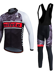 Miloto Cycling Jersey with Bib Tights Men's Unisex Long Sleeves Bike Pants/Trousers/Overtrousers Tracksuit Fleece Jackets Jersey Tights