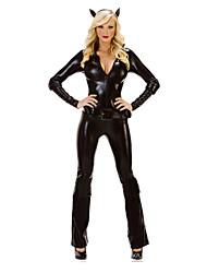 Costumes Ange et Diable Halloween Noir Couleur Pleine Térylène Collant/Combinaison / Plus d'accessoires