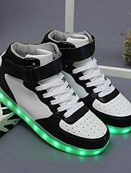 Masculino-Tênis-Conforto Light Up Shoes-Rasteiro-Preto Vermelho Branco-Courino-Casual Para Esporte Festas & Noite