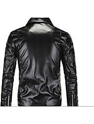 Men's Long Sleeve Casual JacketPU Solid Black