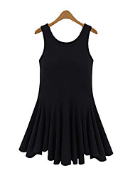 Women's Casual/Daily Simple Sheath DressSolid U Neck Mini Sleeveless Black Cotton Summer Mid Rise Micro-elastic Thin