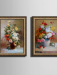 E-HOME® Framed Canvas Art, Vases And Flowers Framed Canvas Print One Pcs