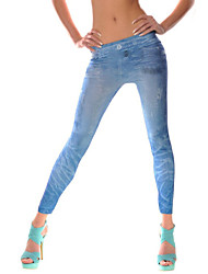 Women Solid Color / Denim LeggingCotton