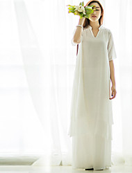 Ramie Cotton Women's Going out / Beach / Holiday Vintage Loose DressSolid V Neck Maxi Short Sleeve White Linen Spring /