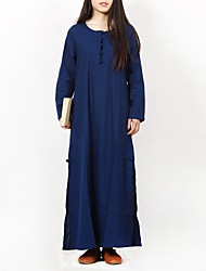 Cynthia Women's Casual/Daily Chinoiserie Tunic DressSolid Round Neck Maxi Long Sleeve Blue Cotton / Linen Spring