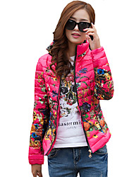 Women's Floral Large Size Slim National Style Down Coat Vintage Stand Long Sleeve