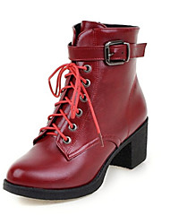 Women's Boots Spring / Fall / Winter Fashion Boots Leatherette Wedding / Outdoor / Dress / Casual  / Burgundy
