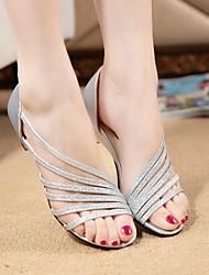 Damen Schuhe PU Sommer Komfort Sandalen Walking Flacher Absatz Für Silber Purpur Golden