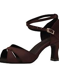 Customizable Women's Latin/Ballroom Dance Shoes Satin Salsa Sandals / Heels Customized Heel Indoor / Performance Brown