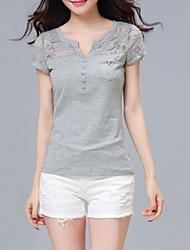 2016 Summer New Women Stitching Lace T-Shirt