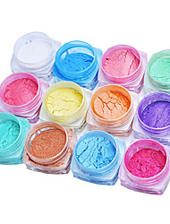 12PCS Chrome Mirror Powder Gold Pigment Ultrafine Powder Dust Nail Glitters Nail Sequins And 6PCS Sponge Stick