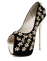 Damen-Stiefel-Hochzeit / Kleid / Party & Festivität-Wildleder-Stöckelabsatz-Absätze / Plateau / Passende Schuhe & Taschen / Flache Schuhe