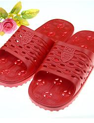 Damen-Slippers & Flip-Flops-Lässig-Gummi-Flacher Absatz-Fersenriemen-Rot