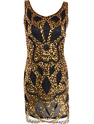 Women's Party Vintage 1920s Sheath Dress,Handmade Paisley U Neck Knee-length Sleeveless Gold Polyester