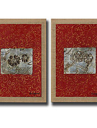 2 Panels Oil Painting Abstract Flower Wall Art Pictures Hand Painted On Natura Linen With Stretched Frame Ready To Hang