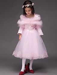 Ball Gown Tea-length Flower Girl Dress - Satin Tulle Scoop with Embroidery Ruffles