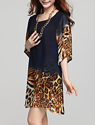Women's Flare Sleeve Print Loose Leopard Chiffon Dress